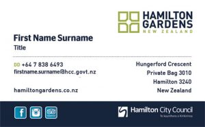 Hamilton Gardens Business Card